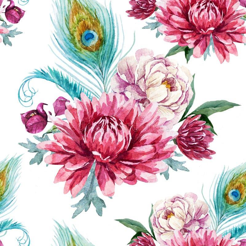 Waterverfpauw en bloemenpatroon royalty-vrije illustratie