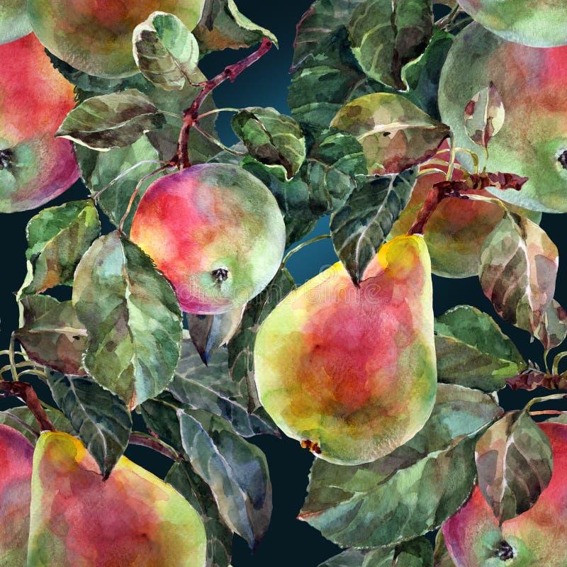 Waterverfpeer met appel Bloemen naadloos patroon Donkerblauwe achtergrond vector illustratie
