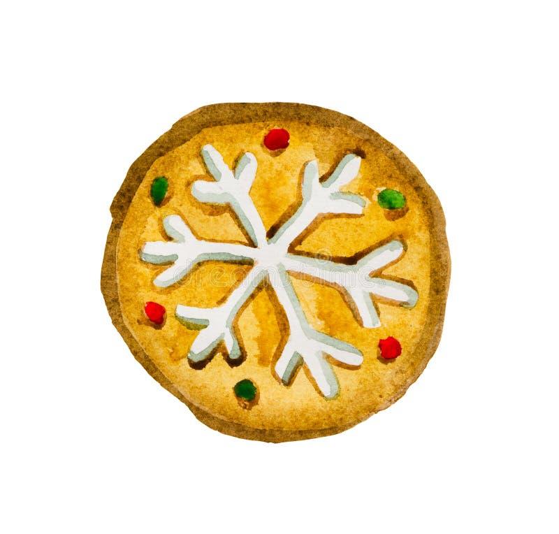 Waterverfpeperkoek op het thema van Kerstmis in de vorm van een pizza, royalty-vrije stock afbeeldingen