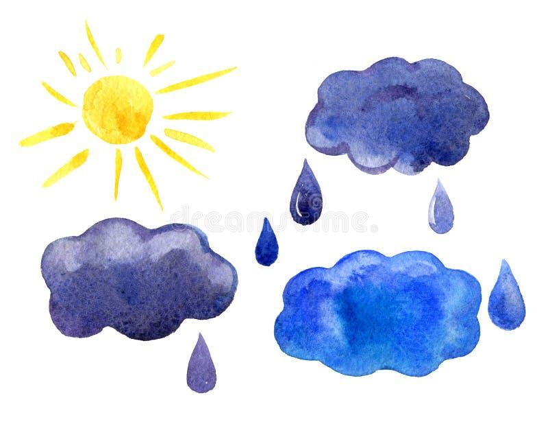 Waterverfpictogrammen geplaatst zon, wolken, geïsoleerde regendruppels, royalty-vrije illustratie