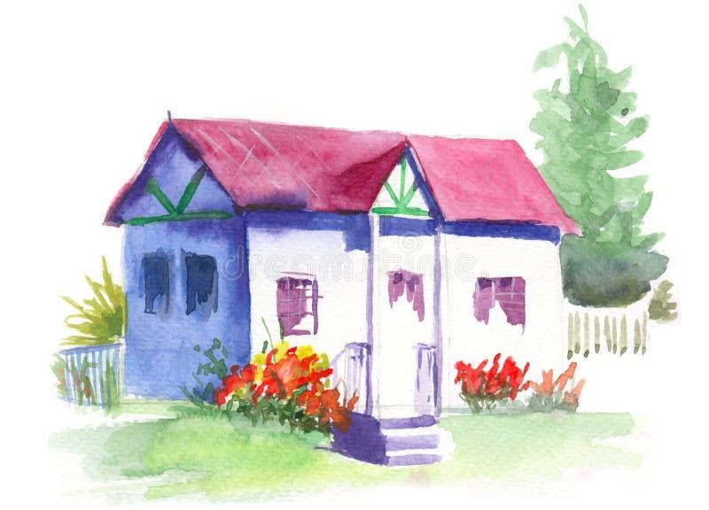Waterverfplattelandshuisje in de tuin stock illustratie
