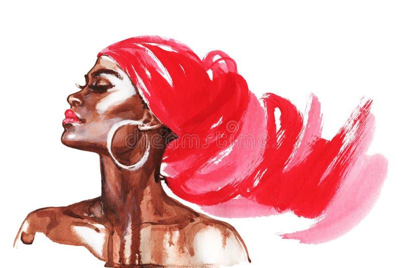 Waterverfportret van Afrikaanse vrouw stock illustratie