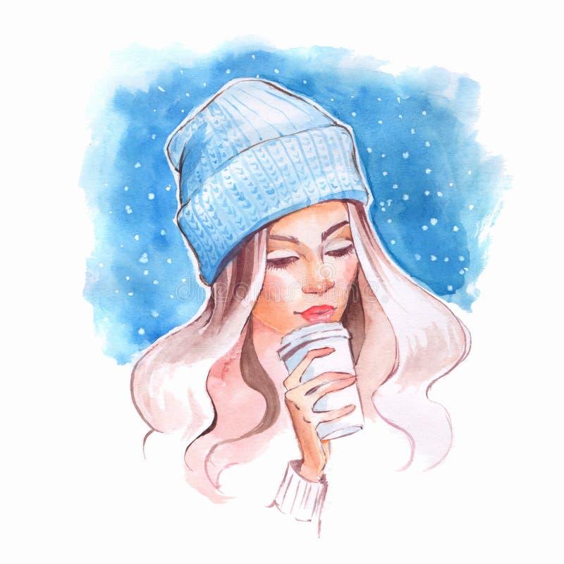 Waterverfportret van jong mooi meisje met koffie vector illustratie