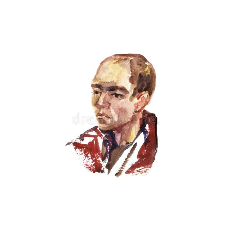 Waterverfportret van jonge mens het met de hand gemaakte zelf gemaakte schilderen vector illustratie