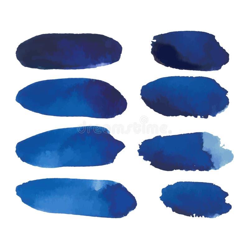 Waterverfreeks blauwe bannersvlekken vector illustratie