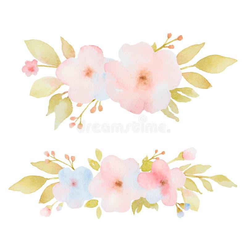 Waterverfreeks boeketten van bloemen en bladeren stock illustratie