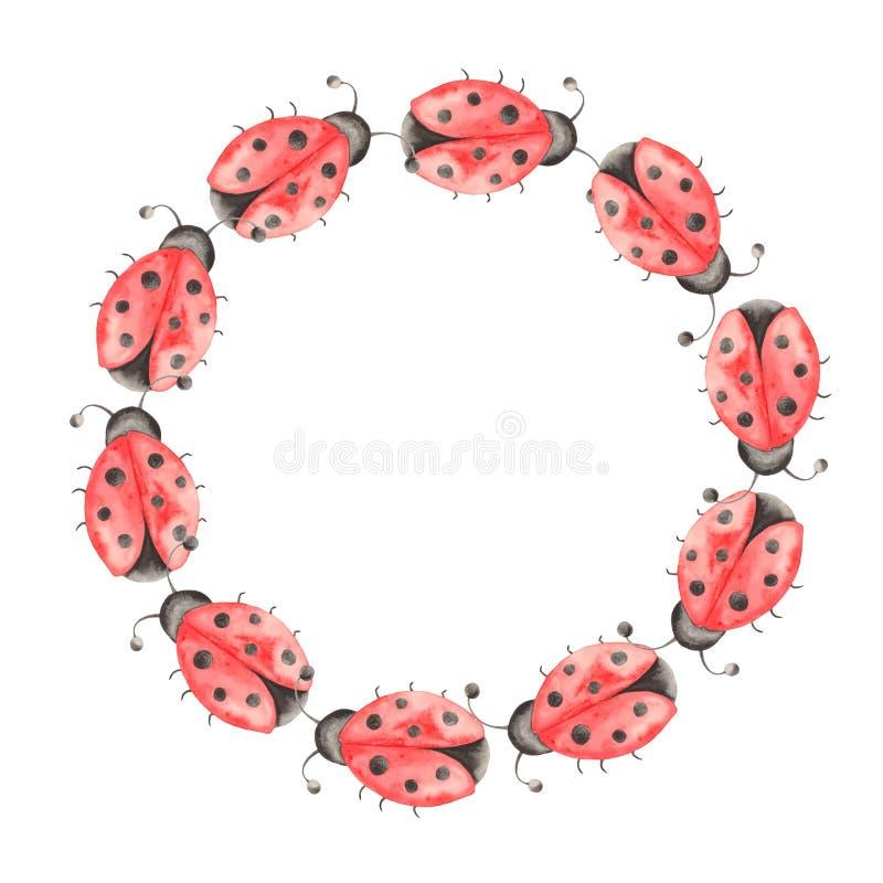 Waterverfreeks insecten, lieveheersbeestjes, beddewantsen, kevers met bladeren op een witte achtergrond vector illustratie