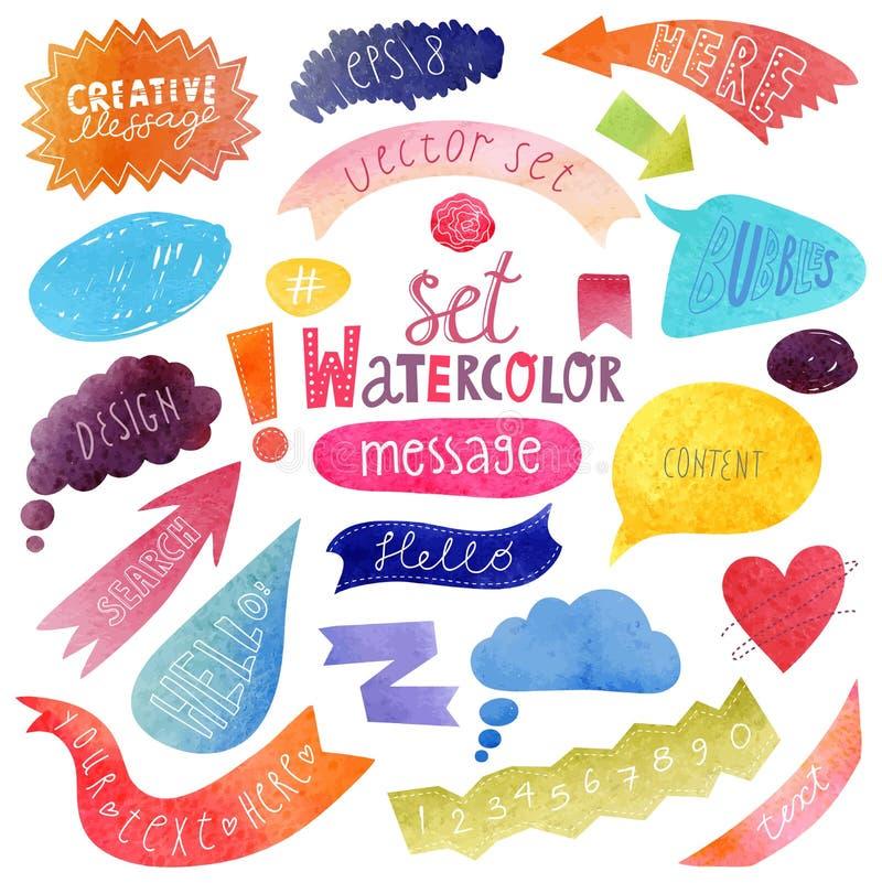 Waterverfreeks kleurrijke toespraakbellen royalty-vrije illustratie