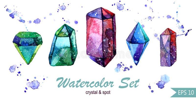 Waterverfreeks kristallen en vlekken Isoletedgroepen royalty-vrije illustratie