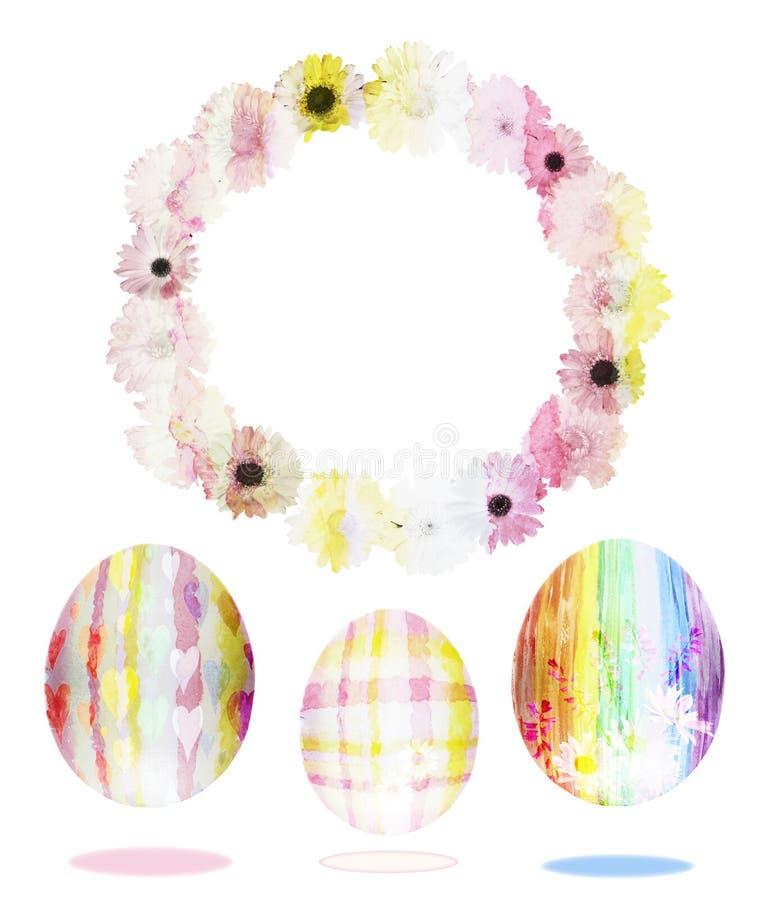 Waterverfreeks paaseieren met een kader van bloemen vector illustratie