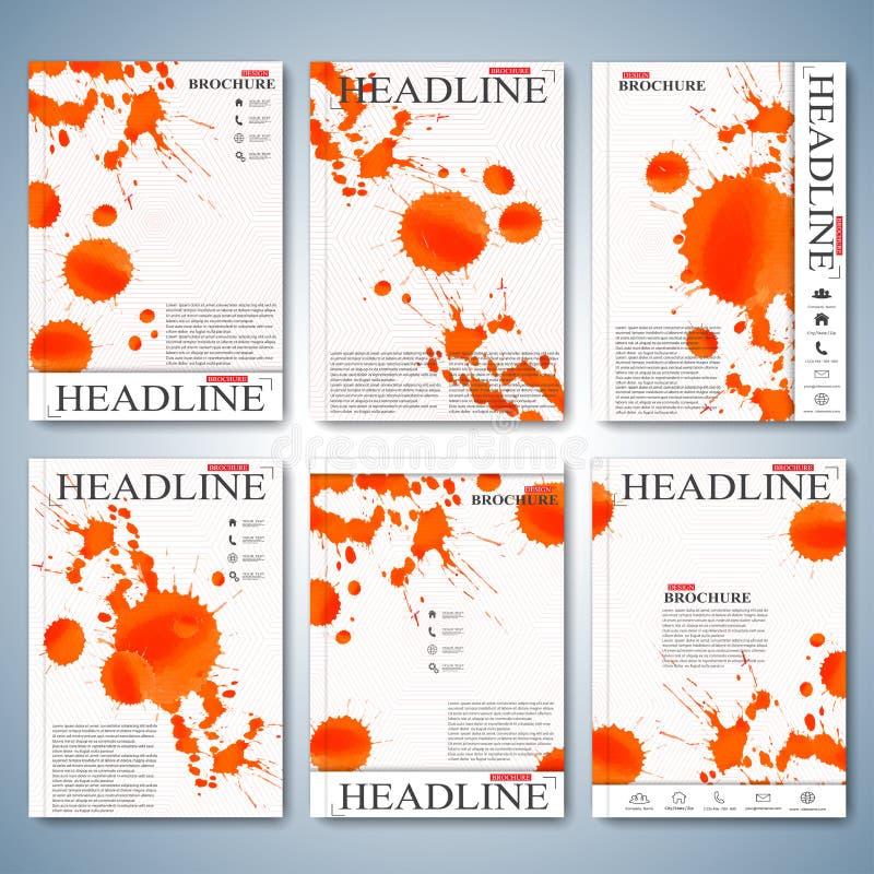 Waterverfreeks van brochures, tijdschrift, vlieger, boekje, dekking of rapport in A4 grootte voor uw ontwerp Vector illustratie vector illustratie