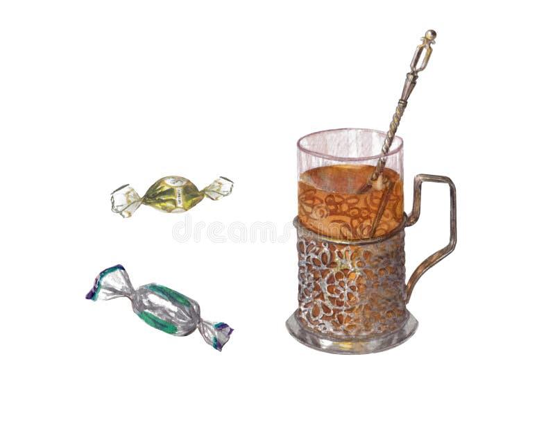 Waterverfreeks van chocolade en antieke kophouder voor thee stock illustratie