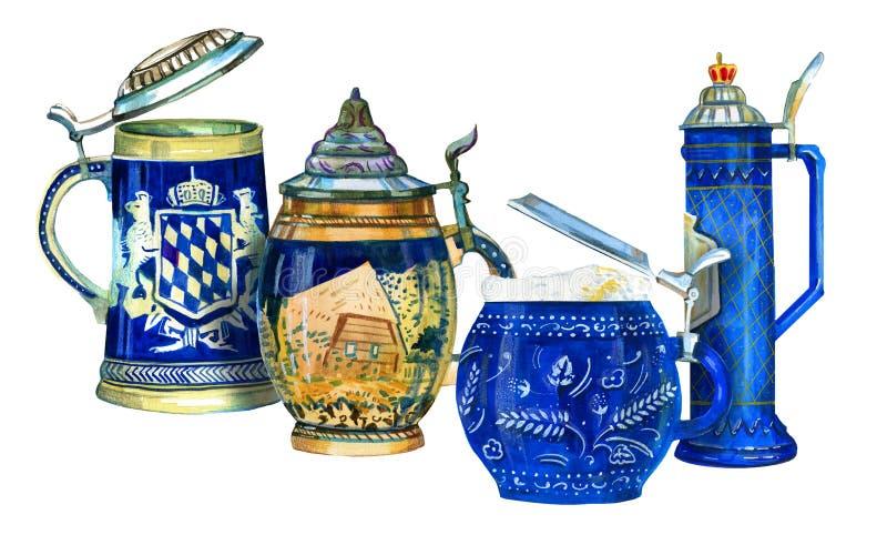 Waterverfreeks van vier Beierse bier ceramische mokken royalty-vrije illustratie
