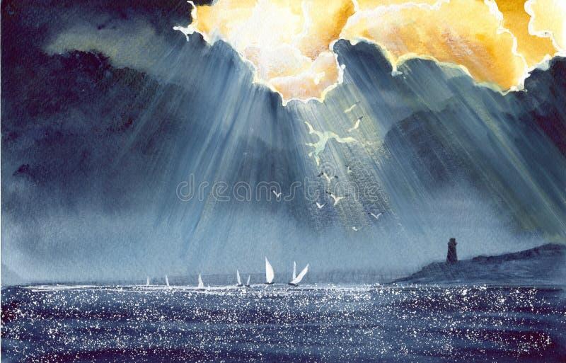 Waterverfregatta na onweer royalty-vrije illustratie