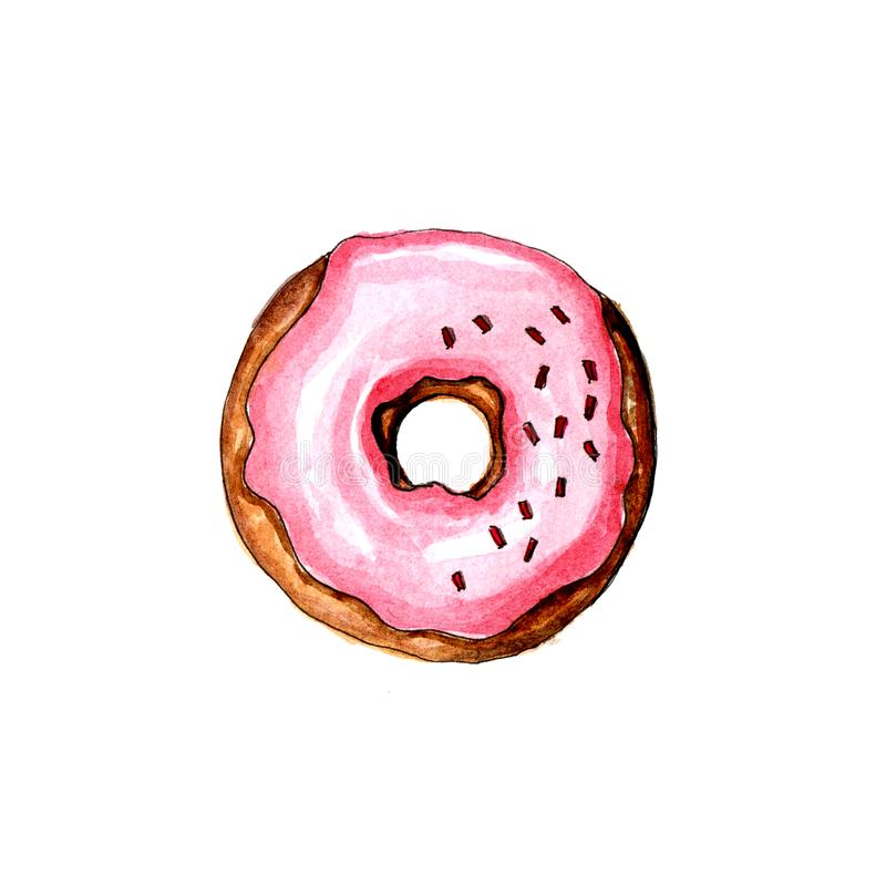 Waterverfroze geïsoleerde doughnut op witte achtergrond royalty-vrije stock foto's