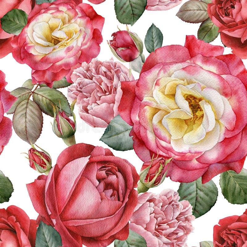 Waterverfrozen en pioenen Naadloos patroon royalty-vrije illustratie