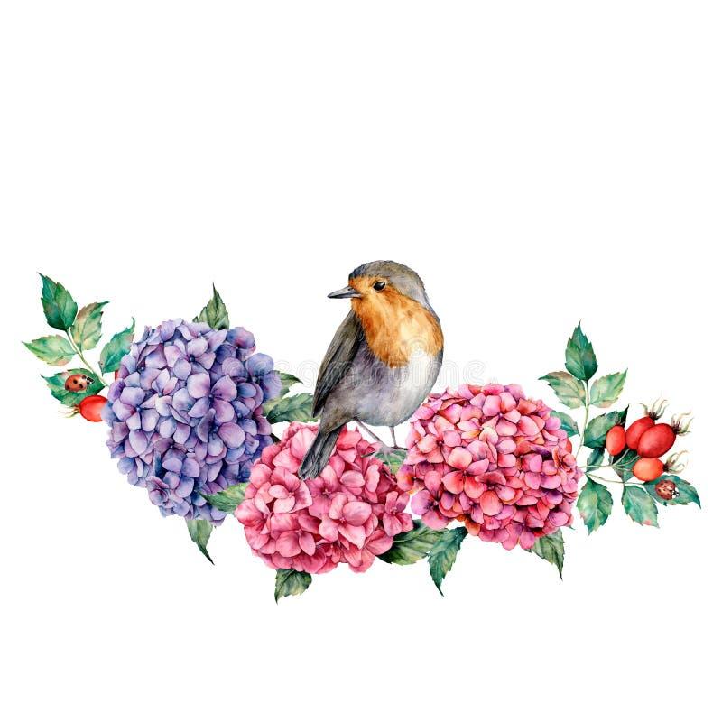 Waterverfsamenstelling met Robin en bloemen Namen de hand geschilderde hydrangea hortensia en de hond boeket met eucalyptusblader stock illustratie