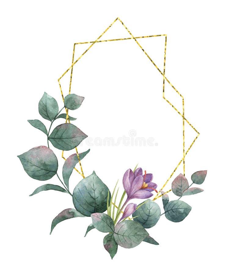Waterverfsamenstelling van de takken van eucalyptus, purpere bloemen en gouden geometrisch kader royalty-vrije illustratie
