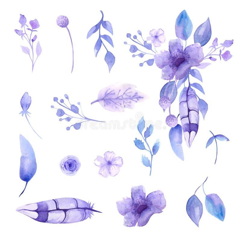 Waterverfsamenstellingen en boeketten van waterverf tedere lilac bloemen Voor registratie van kaarten, notitieboekjes, uitnodigin royalty-vrije illustratie