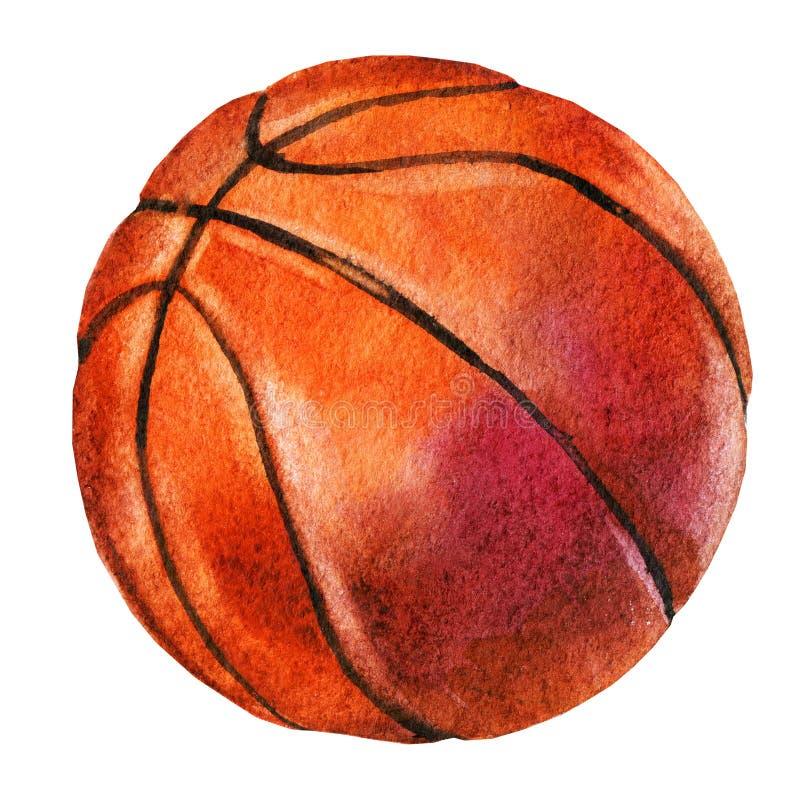 Waterverfschets van basketbalbal op witte achtergrond stock illustratie