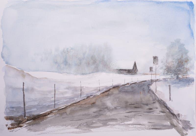 Waterverfschets van de winterlandschap stock afbeelding