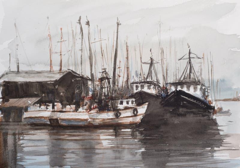 Waterverfschets van kleine haven royalty-vrije stock fotografie