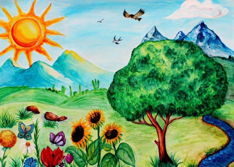 Waterverfschilderij van zomerlandschap, waterverfachtergrond, met de hand getrokken landschap vector illustratie
