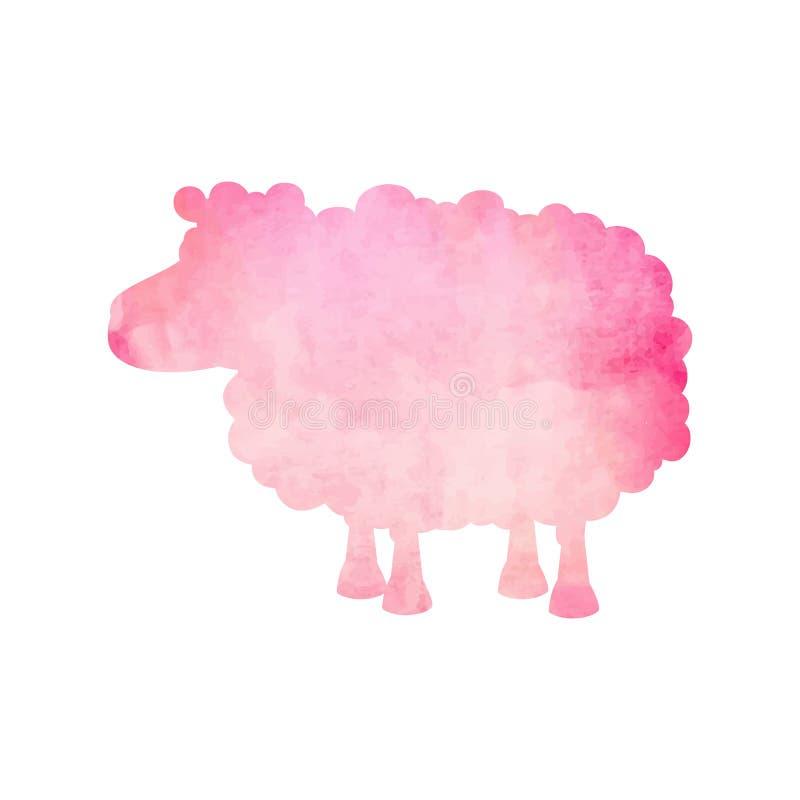 Waterverfsilhouet van een roze schaap op een geïsoleerde achtergrond Vector royalty-vrije illustratie