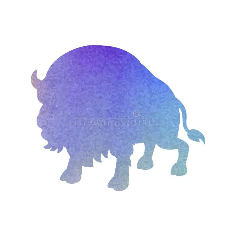 Waterverfsilhouet van een stier op een geïsoleerde achtergrond Vector vector illustratie