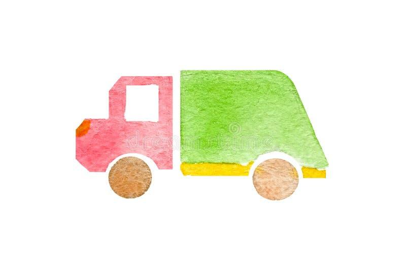Waterverfsilhouet van een stuk speelgoed vuilnisauto op een witte geïsoleerde achtergrond royalty-vrije illustratie