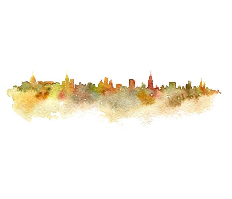 Waterverfsilhouet van stad royalty-vrije illustratie
