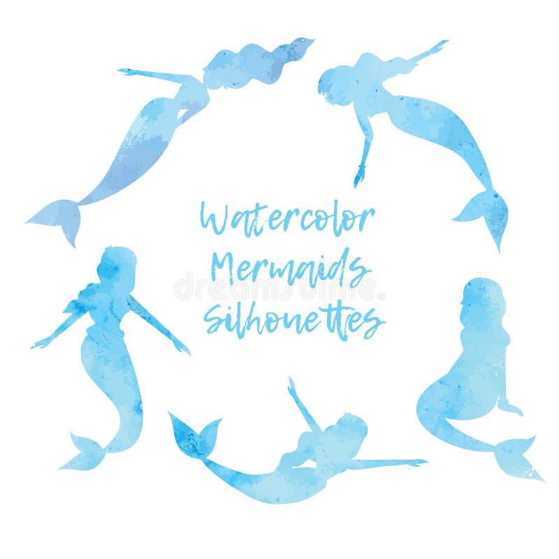 Waterverfsilhouetten van meerminnenreeks Vector illustratie EPS10 vector illustratie