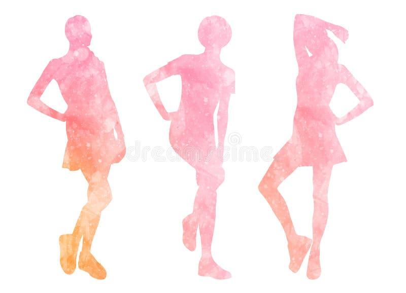 Waterverfsilhouetten van vrouwen royalty-vrije illustratie