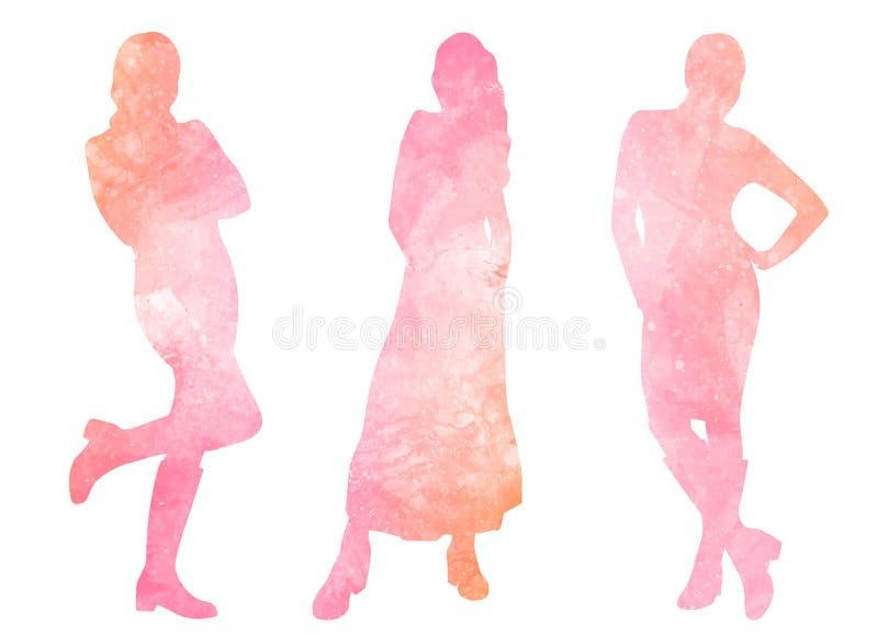 Waterverfsilhouetten van vrouwen vector illustratie