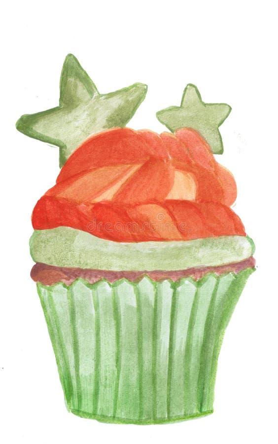 Waterverfsinaasappel cupcake stock illustratie