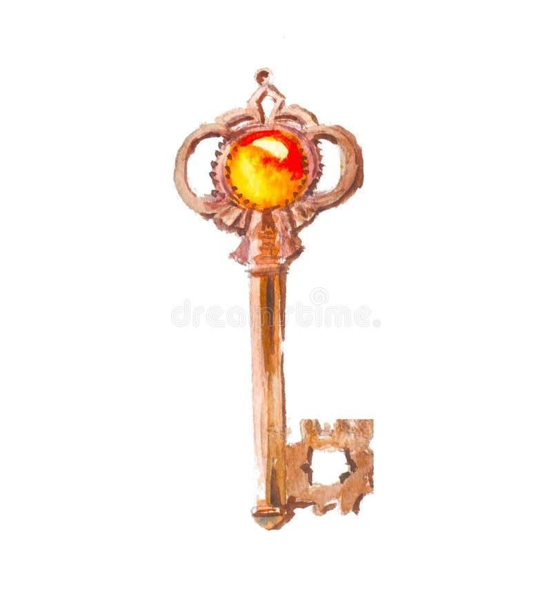 Waterverfsleutel met gouden steen Symboolrijkdom vector illustratie
