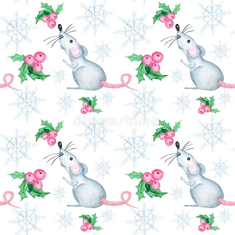 Waterverfsneeuwvlokken, rat en Kerstmisbessen naadloos patroon Blauwe sneeuwvlok op een witte achtergrond Het behang van de de wi vector illustratie