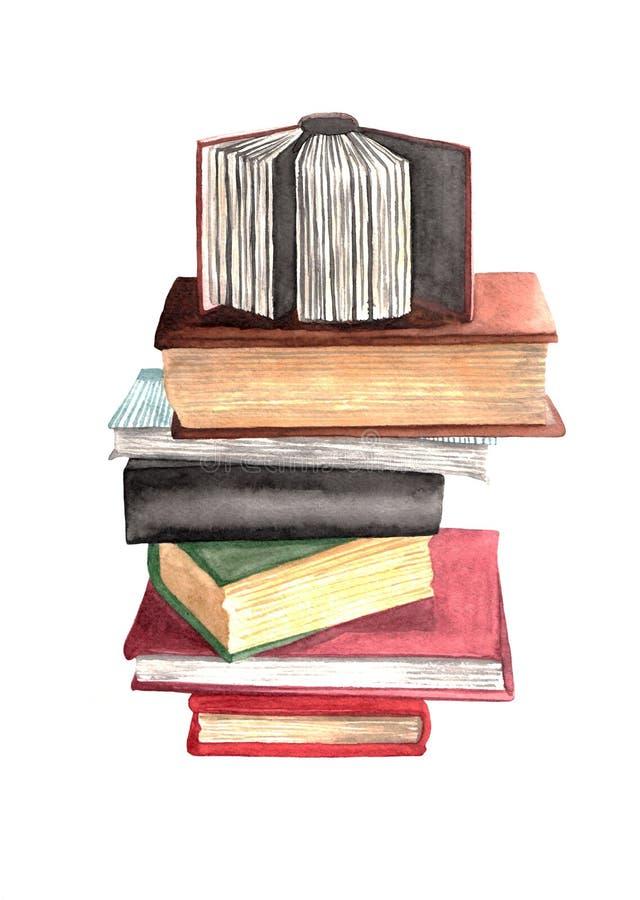 Waterverfstapel boeken op een witte achtergrond Hand getrokken illustratie Realistisch stilleven Kan voor illustraties worden geb stock illustratie
