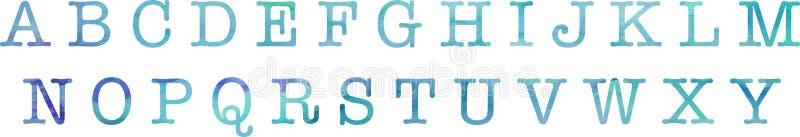 Waterverfstijl alphabeth royalty-vrije illustratie
