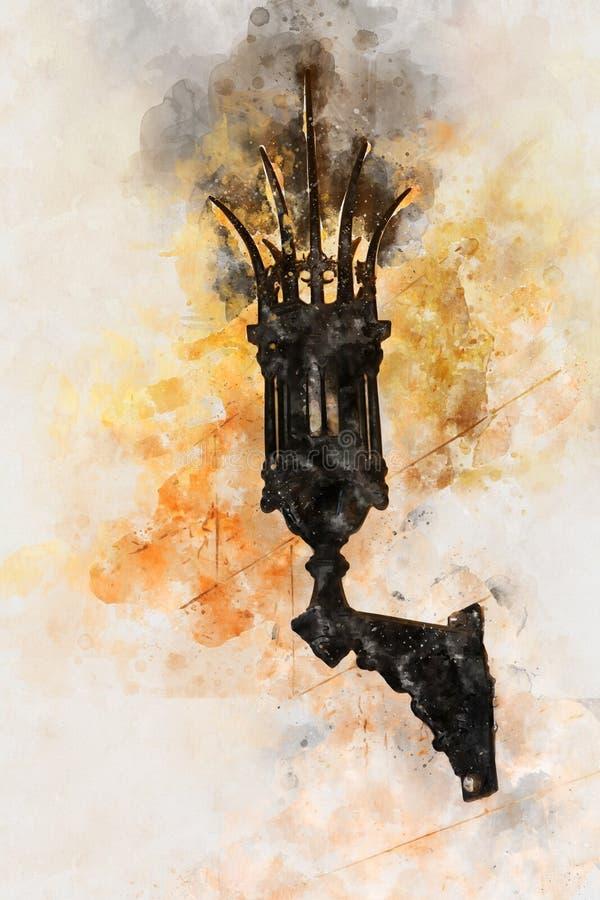 waterverfstijl en abstract beeld van gotische middeleeuwse lantaarn over steenmuur vector illustratie