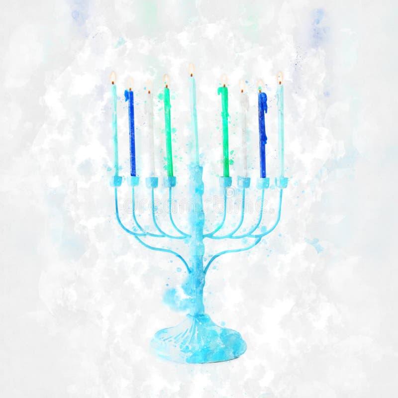 waterverfstijl en abstract beeld van joodse feestdag Hanukkah met menorah (traditioneel candelabra stock foto's