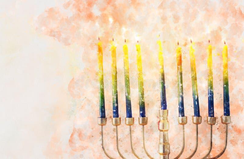 waterverfstijl en abstract beeld van joodse feestdag Hanukkah met menorah (traditioneel candelabra royalty-vrije stock foto's