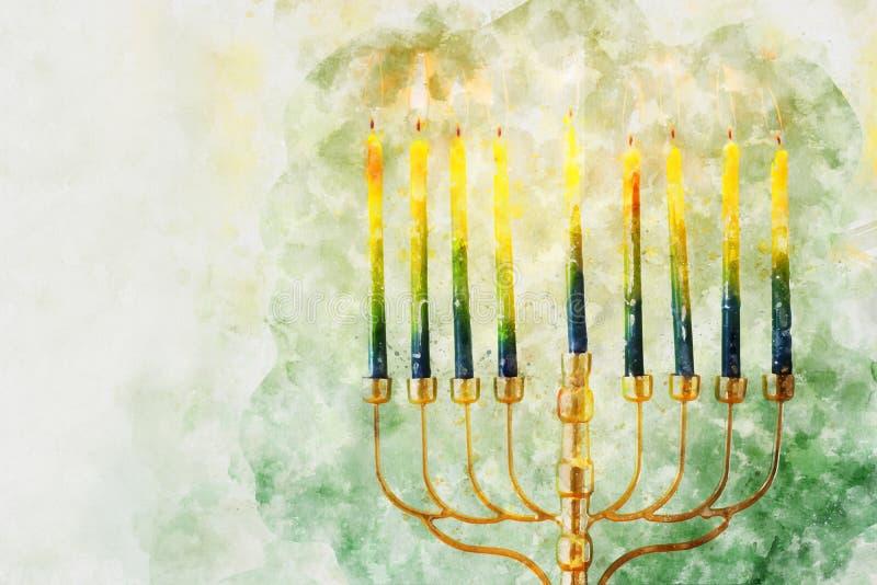 waterverfstijl en abstract beeld van joodse feestdag Hanukkah met menorah (traditioneel candelabra royalty-vrije stock afbeelding