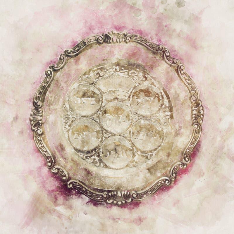 waterverfstijl en abstract beeld van Pesah-vieringsconcept & x28; Joodse Pascha holiday& x29; stock illustratie