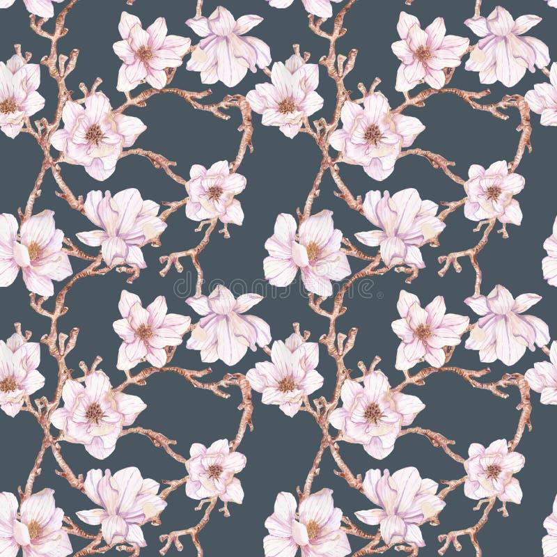 Waterverftakken van magnolia, naadloos patroon stock illustratie