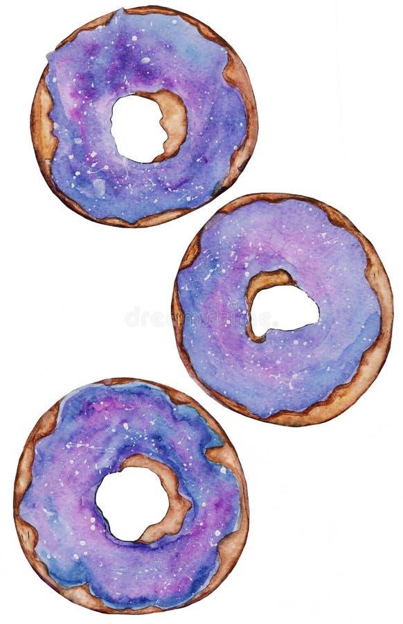Waterverftekening donuts in glans stock afbeelding