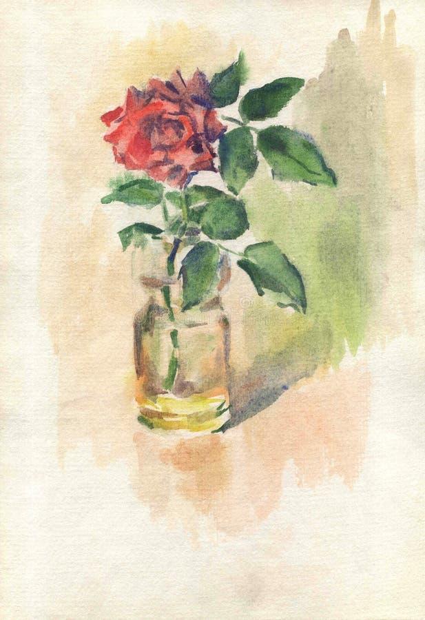 Waterverftekening, illustratie Een rood nam knop in een vaas en op een bruine achtergrond toe vector illustratie