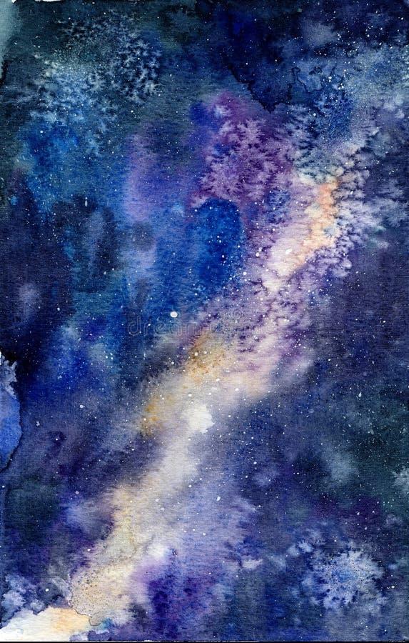 Waterverftekening van de kosmische hemel, ruimte vector illustratie