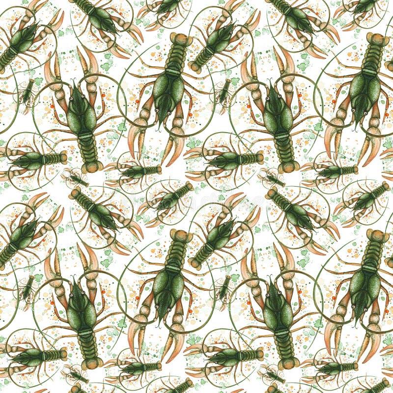 Waterverftekening van een naadloos patroon op een marien thema en op een dierenriemteken, kanker, zeekreeft, rivierrivierkreeften vector illustratie
