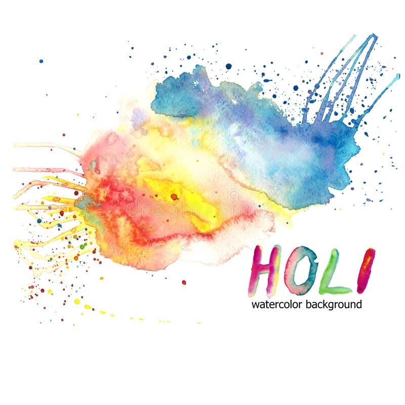 Waterverftekening van multicolored verfplonsen, vlekken op papier op witte achtergrond, voor decor, ornamenten, illustratie stock illustratie